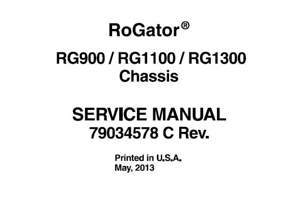 Agco Ag-Chem RG900, RG1100, RG1300 Rogator Chassis Service
