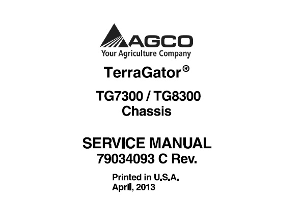 Agco Ag-Chem TG7300 , TG8300 Terragator Chassis Service