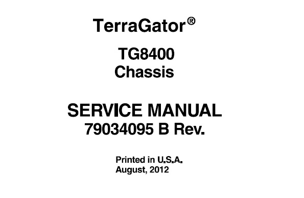 Agco Ag-Chem TG8400 Terragator Chassis Service Repair