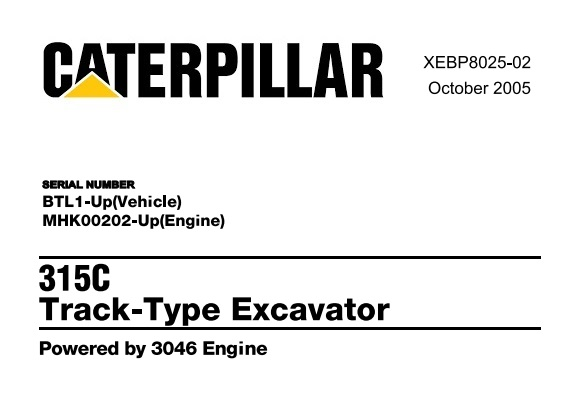 Caterpillar Cat 315C Track Type Excavator Parts Manual