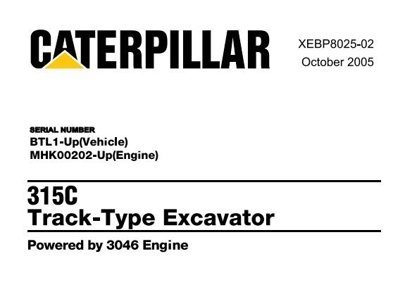 Caterpillar Cat 315C Track Type Excavator Parts Manual