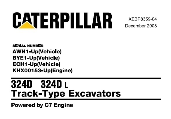 Caterpillar Cat 324D , 324D L Track Type Excavator Parts