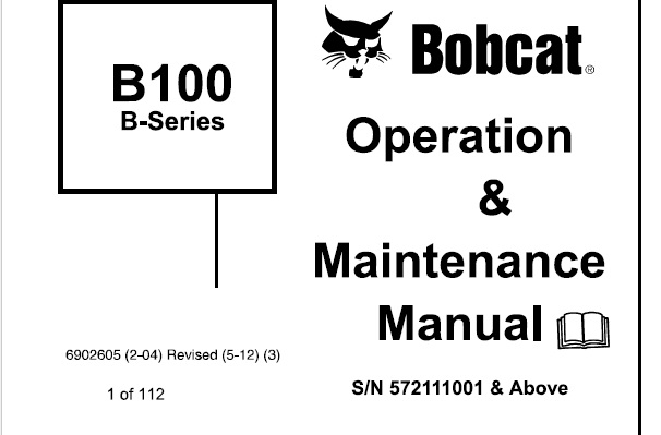 Bobcat B100 Backhoe Loader (B-Series) Operation and