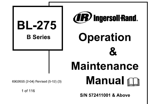 Bobcat BL275 Backhoe Loader (B Series) Operation and