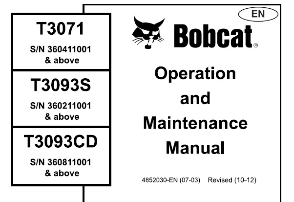 Bobcat T3071 , T3093S , T3093CD Telescopic Handler