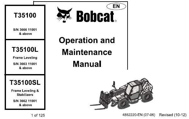 Bobcat T35100 , T35100L , T35100SL Telescopic Handler