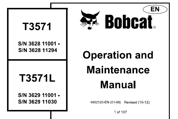 Bobcat T3571 , T3571L Telescopic Handler Operation and