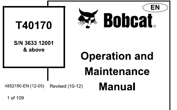Bobcat T40170 Telescopic Handler Operation and Maintenance