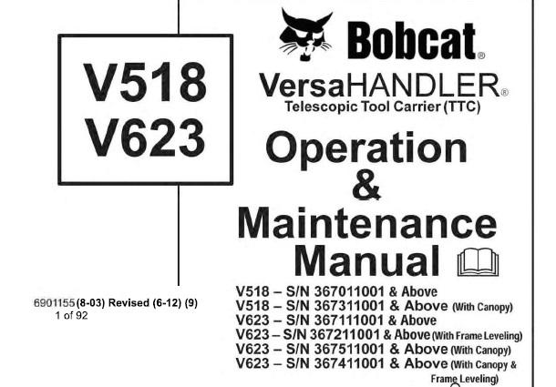 Bobcat V518 , V623 Telescopic Tool Carrier (TTC) Operation