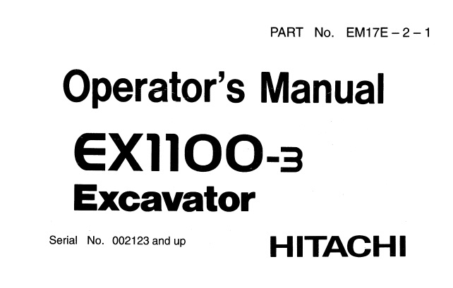 Hitachi EX1100-3 Hydraulic Excavator Operator's Manual