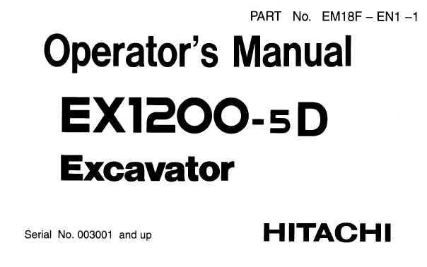 Hitachi EX1200-5D Hydraulic Excavator Operator's Manual