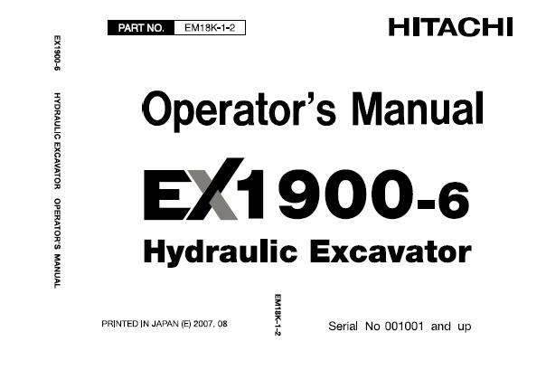 Hitachi EX1900-6 Hydraulic Excavator Operator's Manual