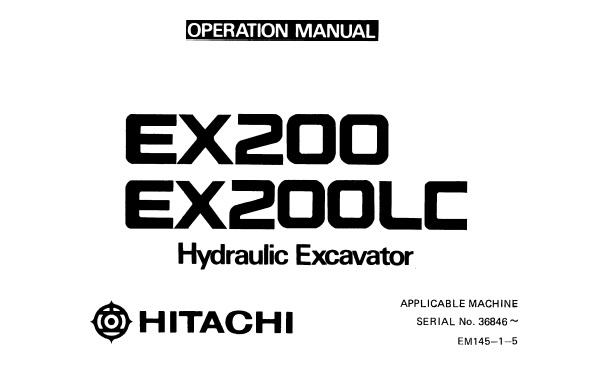 Hitachi EX200 , EX200LC Hydraulic Excavator Operator's