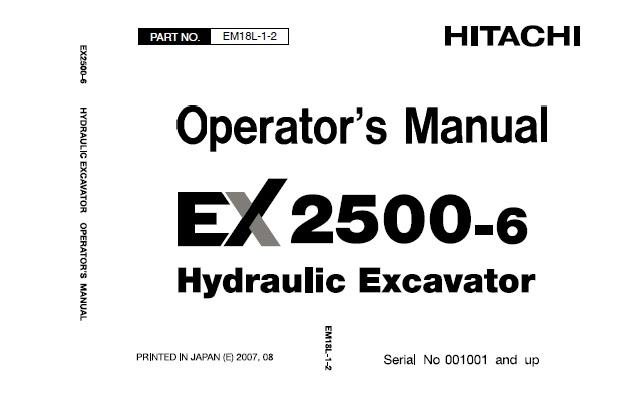 Hitachi EX2500-6 Hydraulic Excavator Operator's Manual