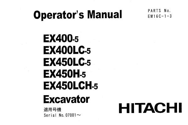 Hitachi EX400-5 , EX400LC-5 , EX450LC-5 , EX450H-5