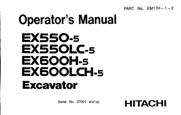 Hitachi EX550-5 , EX550LC-5 , EX600H-5 , EX600LCH-5