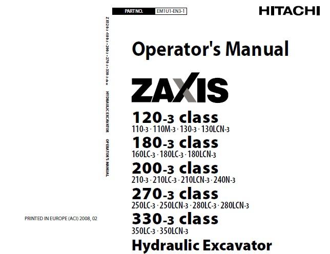 Hitachi Zaxis 120-3 Class, 180-3 Class, 200-3 Class, 270-3