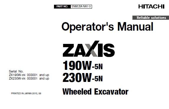 Hitachi Zaxis 190W-5N , 230W-5N Wheeled Excavator Operator