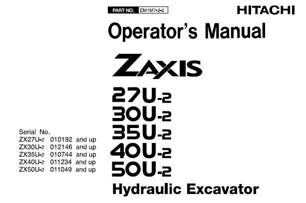 Hitachi Zaxis 27U-2 , 30U-2 , 35U-2 , 40U-2 , 50U-2