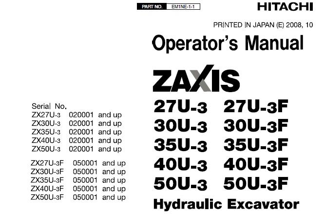 Hitachi Zaxis 27U-3, 30U-3, 35U-3, 40U-3, 50U-3, 27U-3F