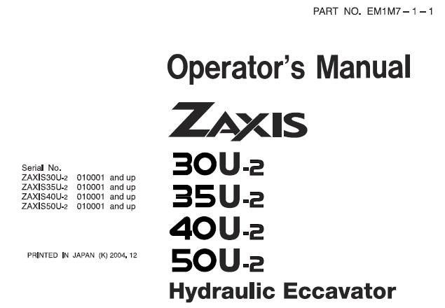 Hitachi Zaxis 30U-2, 35U-2, 40U-2, 50U-2 Hydraulic