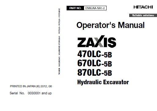 Hitachi Zaxis 470LC-5B , 670LC-5B , 870LC-5B Hydraulic