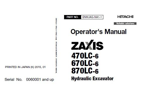Hitachi Zaxis 470LC-6 , 670LC-6 , 870LC-6 Hydraulic