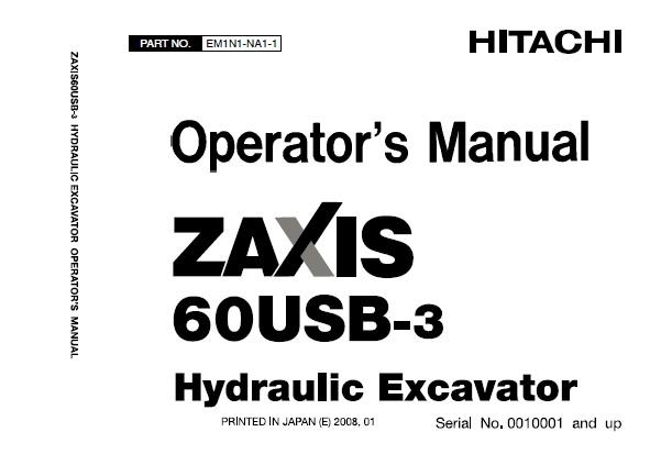 Hitachi Zaxis 60USB-3 Hydraulic Excavator Operator's