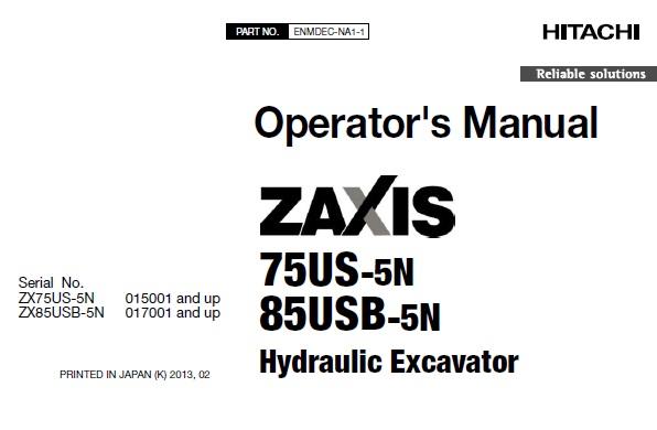 Hitachi Zaxis 75US-5N , 85USB-5N Hydraulic Excavator