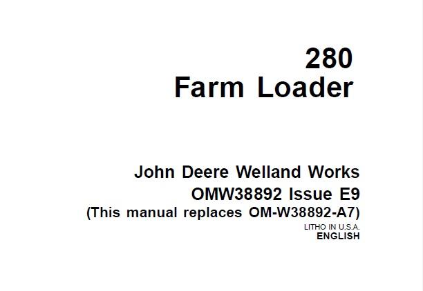 John Deere 280 Farm Loader Operator's Manual