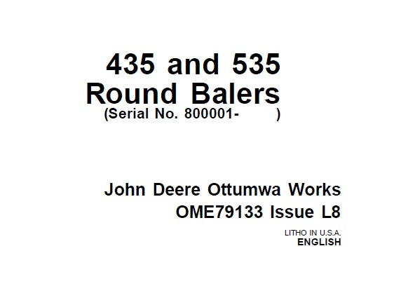 John Deere 435 and 535 Round Balers (Serial No. 800001