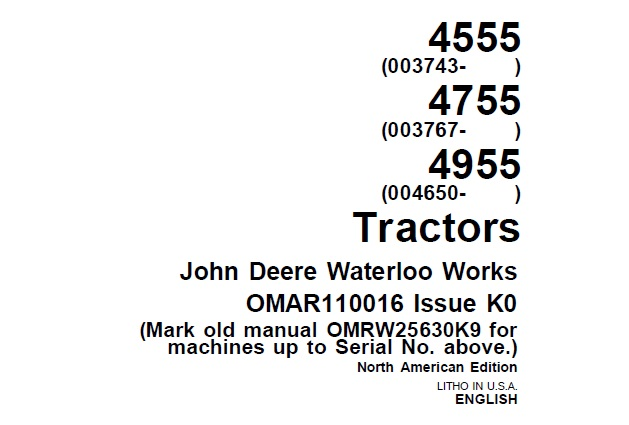 John Deere 4555, 4755 and 4955 Tractors Operator's Manual