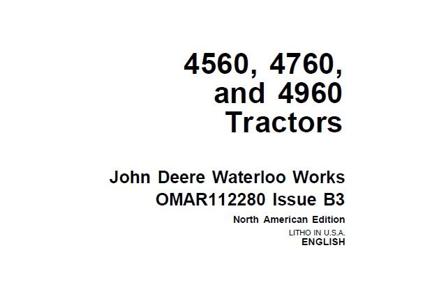 John Deere 4560, 4760 and 4960 Tractors Operator's Manual