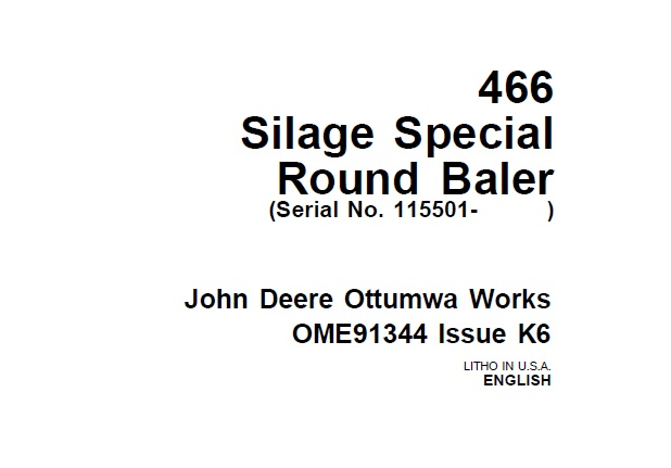 John Deere 466 Silage Special Round Baler (Serial No