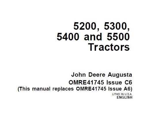 John Deere 5200, 5300, 5400 and 5500 Tractors Operator's