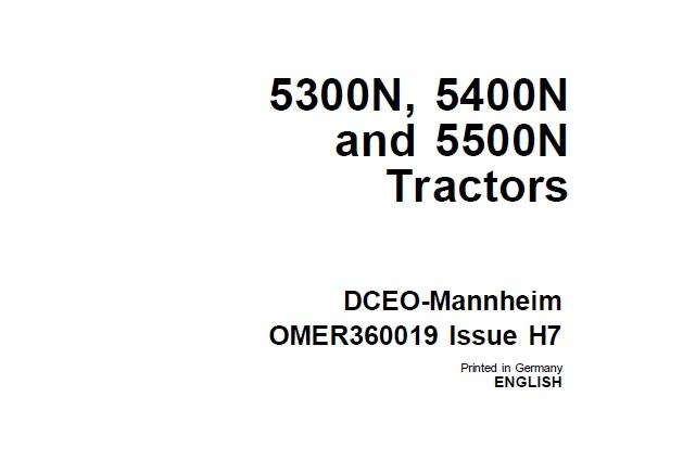 John Deere 5300N , 5400N and 5500N Tractors Operator's