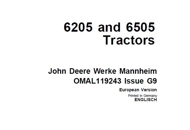 John Deere 6205 and 6505 Tractors Operator's Manual