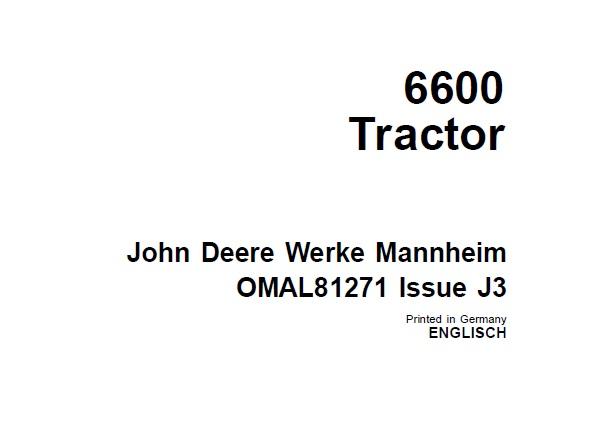 John Deere 6600 Tractor Operator's Manual