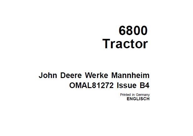 John Deere 6800 Tractor Operator's Manual