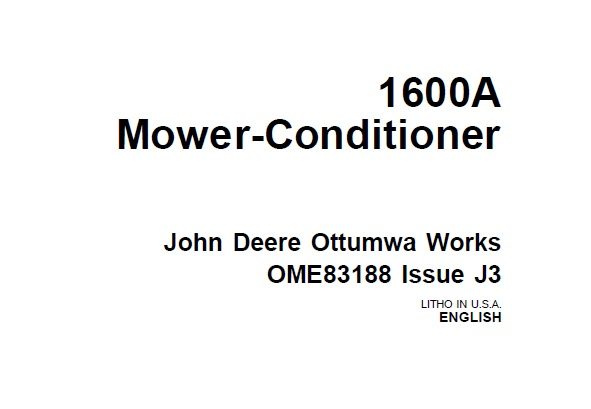 John Deere 1600A Mower-Conditioner Operator's Manual