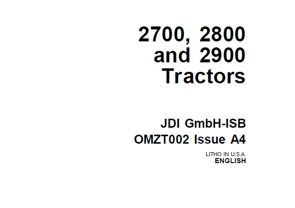 John Deere 2700, 2800 and 2900 Tractors Operator's Manual