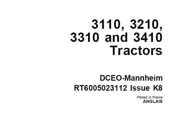John Deere 3110, 3210, 3310 and 3410 Tractors Operator's