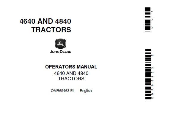 John Deere 4640 and 4840 Tractors Operator's Manual