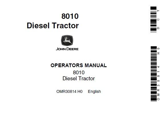 John Deere 8010 Diesel Tractors Operator's Manual