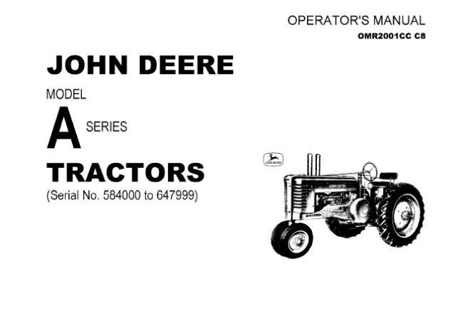 John Deere Model A Series Tractors (Serial No. 584000