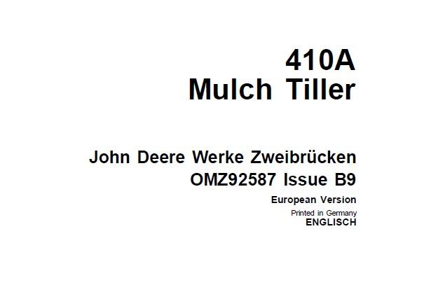 John Deere 410A Mulch Tiller Operator's Manual