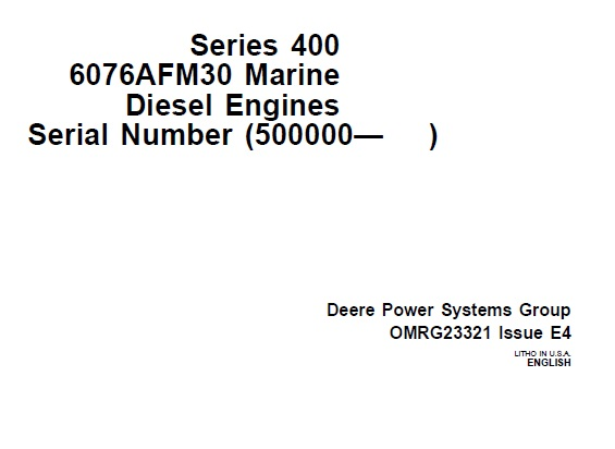 John Deere Series 400 (6076AFM30) Marine Diesel Engines