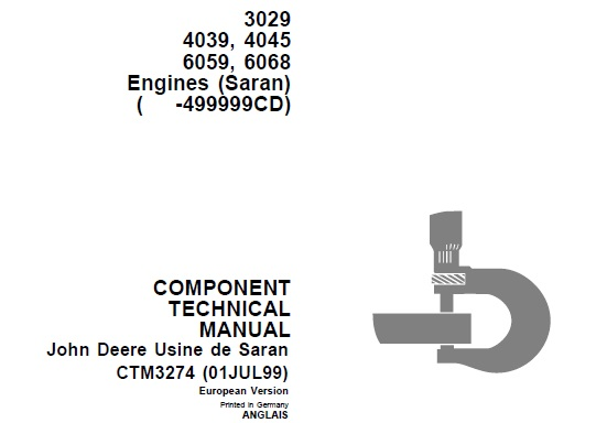 John Deere 3029, 4039, 4045, 6059, 6068 Engines (Saran