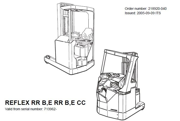 BT REFLEX RR B,E RR B,E CC Forklift Service Repair Manual