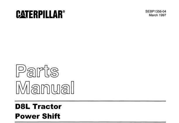 Caterpillar Cat D8L Tractor (Power Shift) Parts Manual